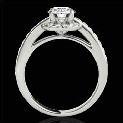 1.5 CTW H-SI/I Certified Diamond Solitaire Halo Ring 10K White Gold - REF-176R4K - 33927