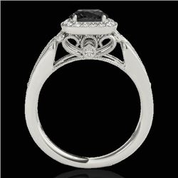 1.3 CTW Certified Vs Black Diamond Solitaire Halo Ring 10K White Gold - REF-66K4R - 33772
