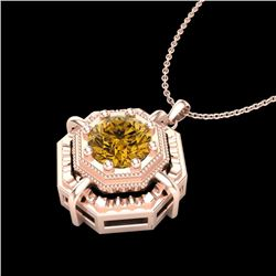 0.75 CTW Intense Fancy Yellow Diamond Art Deco Stud Necklace 18K Rose Gold - REF-121N8Y - 37463