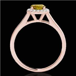 1.11 CTW Certified Si Fancy Intense Yellow Diamond Solitaire Halo Ring 10K Rose Gold - REF-167N3Y -