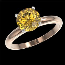 2 CTW Certified Intense Yellow SI Diamond Solitaire Engagement Ring 10K Rose Gold - REF-527Y3N - 329