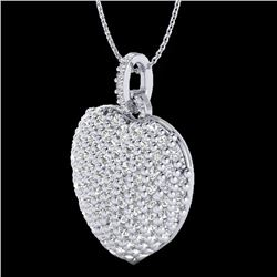 3 CTW Micre Pave VS/SI Diamond Certified Designer Heart Necklace 18K White Gold - REF-200K2R - 20466