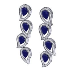 16.44 CTW Royalty Sapphire & VS Diamond Earrings 18K White Gold - REF-318K2R - 39456