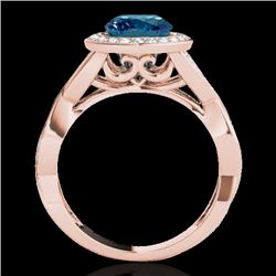 1.75 CTW SI Certified Fancy Blue Diamond Solitaire Halo Ring 10K Rose Gold - REF-197Y8N - 33273