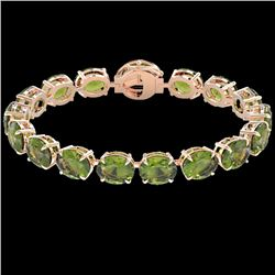 65 CTW Green Tourmaline & Micro VS/SI Diamond Halo Bracelet 14K Rose Gold - REF-593T8X - 22262