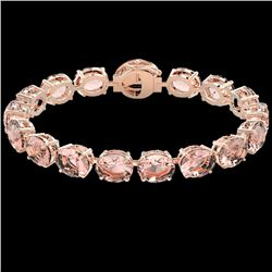 67 CTW Morganite & Micro Pave VS/SI Diamond Halo Bracelet 14K Rose Gold - REF-763M6F - 22268
