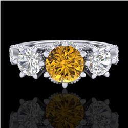 2.18 CTW Intense Fancy Yellow Diamond Art Deco 3 Stone Ring 18K White Gold - REF-254W5H - 38113