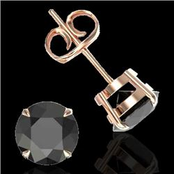 4 CTW Black VS/SI Diamond Designer Inspired Stud Earrings 14K Rose Gold - REF-100M2F - 21814