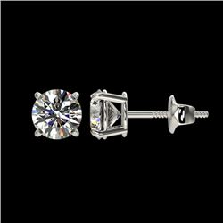 1.09 CTW Certified H-SI/I Quality Diamond Solitaire Stud Earrings 10K White Gold - REF-114M5F - 3657