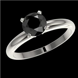 1.25 CTW Fancy Black VS Diamond Solitaire Engagement Ring 10K White Gold - REF-39X5T - 32906