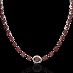 80 CTW Garnet & VS/SI Diamond Eternity Tennis Micro Halo Necklace 14K White Gold - REF-236X4T - 2346
