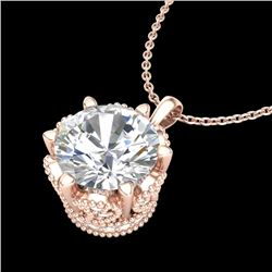 1.36 CTW VS/SI Diamond Solitaire Art Deco Necklace 18K Rose Gold - REF-361K8R - 37245
