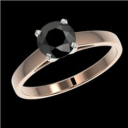 1 CTW Fancy Black VS Diamond Solitaire Engagement Ring 10K Rose Gold - REF-34M2F - 32985