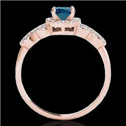 1.33 CTW SI Certified Fancy Blue Diamond Solitaire Ring 10K Rose Gold - REF-161T8X - 35319