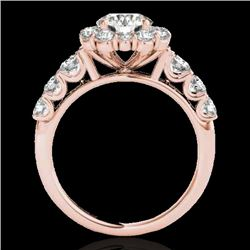 2.9 CTW H-SI/I Certified Diamond Solitaire Halo Ring 10K Rose Gold - REF-413W3H - 33392