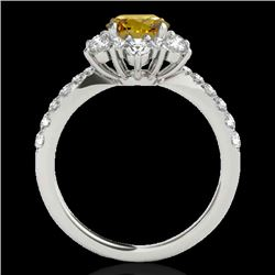 2.19 CTW Certified Si Fancy Intense Yellow Diamond Solitaire Halo Ring 10K White Gold - REF-259R3K -