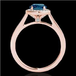 1.93 CTW SI Certified Fancy Blue Diamond Solitaire Halo Ring 10K Rose Gold - REF-254R5K - 33523
