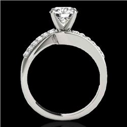 1.4 CTW H-SI/I Certified Diamond Bypass Solitaire Ring 10K White Gold - REF-190X9T - 35072
