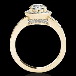 1.4 CTW H-SI/I Certified Diamond Solitaire Halo Ring 10K Yellow Gold - REF-180T2X - 34344
