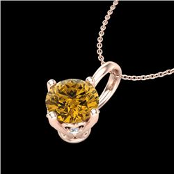 0.82 CTW Intense Fancy Yellow Diamond Art Deco Stud Necklace 18K Rose Gold - REF-103K6R - 37806