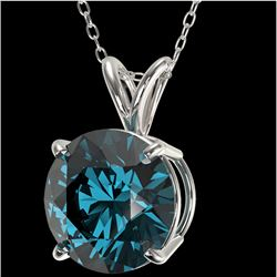 2.50 CTW Certified Intense Blue SI Diamond Solitaire Necklace 10K White Gold - REF-697N8Y - 33246