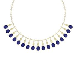 65.62 CTW Royalty Sapphire & VS Diamond Necklace 18K Yellow Gold - REF-1072Y8N - 39128