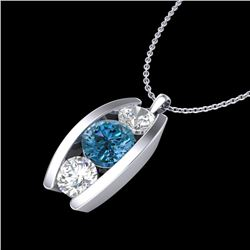 1.07 CTW Fancy Intense Blue Diamond Solitaire Art Deco Necklace 18K White Gold - REF-123H6W - 37775