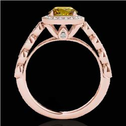 1.93 CTW Certified Si Fancy Intense Yellow Diamond Solitaire Halo Ring 10K Rose Gold - REF-301N8Y -