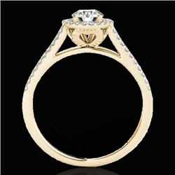 1.3 CTW H-SI/I Certified Diamond Solitaire Halo Ring 10K Yellow Gold - REF-167M3F - 33884