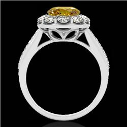 2 CTW Certified Si Fancy Intense Yellow Diamond Solitaire Halo Ring 10K White Gold - REF-199R5K - 33