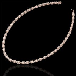25 CTW Morganite & VS/SI Diamond Certified Eternity Tennis Necklace 10K Rose Gold - REF-284W5H - 215
