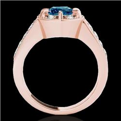 2 2 CTW SI Certified Fancy Blue Diamond Solitaire Halo Ring 10K Rose Gold - REF-236N4Y - 34492