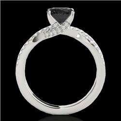 1.3 CTW Certified Vs Black Diamond Solitaire Ring 10K White Gold - REF-68Y2N - 35278