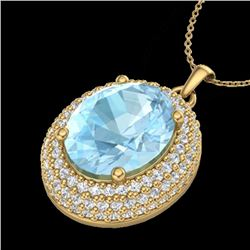 4 CTW Aquamarine & Micro Pave VS/SI Diamond Certified Necklace 18K Yellow Gold - REF-122W8H - 20555