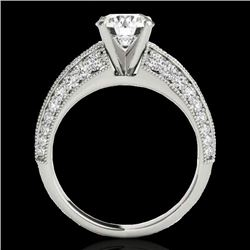 1.58 CTW H-SI/I Certified Diamond Solitaire Antique Ring 10K White Gold - REF-172K8R - 34621