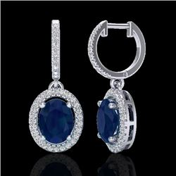 4.25 CTW Sapphire & Micro Pave VS/SI Diamond Earrings Halo 18K White Gold - REF-103N6Y - 20333