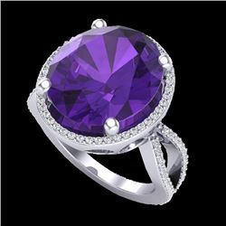 10 CTW Amethyst & Micro Pave VS/SI Diamond Certified Halo Ring 18K White Gold - REF-80Y2N - 20952