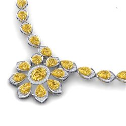 35.5 CTW Royalty Canary Citrine & VS Diamond Necklace 18K White Gold - REF-527M3F - 39042