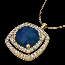 2.52 CTW Sapphire & Micro Pave VS/SI Diamond Halo Necklace 18K Yellow Gold - REF-76R4K - 20464