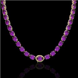 45.25 CTW Amethyst & VS/SI Diamond Tennis Micro Pave Halo Necklace 14K Yellow Gold - REF-225T5X - 40