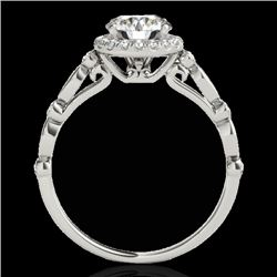 1.25 CTW H-SI/I Certified Diamond Solitaire Halo Ring 10K White Gold - REF-160T2X - 33616