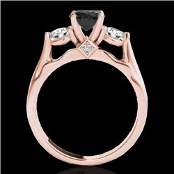 1.5 CTW Certified Vs Black Diamond 3 Stone Solitaire Ring 10K Rose Gold - REF-92W2H - 35371