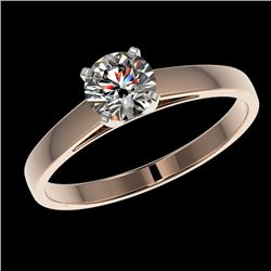 0.78 CTW Certified H-SI/I Quality Diamond Solitaire Engagement Ring 10K Rose Gold - REF-84H8W - 3648
