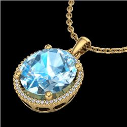 12 CTW Sky Blue Topaz & Micro VS/SI Diamond Halo Necklace 18K Yellow Gold - REF-74N2Y - 20605