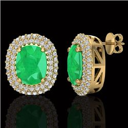 6.30 CTW Emerald & Micro Pave VS/SI Diamond Halo Earrings 18K Yellow Gold - REF-160N9Y - 20121