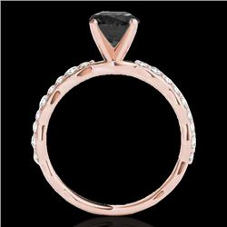 1.4 CTW Certified Vs Black Diamond Solitaire Ring 10K Rose Gold - REF-56F2M - 34875
