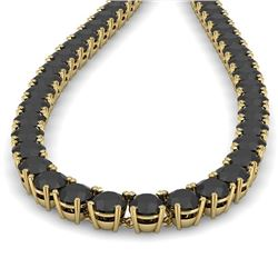40 CTW Certified Black VS Diamond Necklace 14K Yellow Gold - REF-1400R2K - 38510