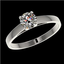 0.75 CTW Certified H-SI/I Quality Diamond Solitaire Engagement Ring 10K White Gold - REF-84F8M - 329