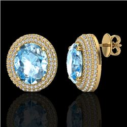 10 CTW Sky Blue Topaz & Micro Pave VS/SI Diamond Earrings 18K Yellow Gold - REF-152M4F - 20219