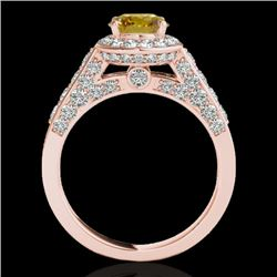 2.56 CTW Certified Si Fancy Intense Yellow Diamond Solitaire Halo Ring 10K Rose Gold - REF-345K5R -